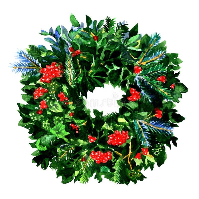 Neues Jahr des traditionellen Winters und Weihnachtskranz mit roten Stechpalmenbeeren, immergrüne grüne Niederlassungen, lokalisi stockfotos