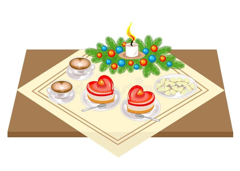 Neues Jahr, eine festliche Tabelle Die Zusammensetzung der Niederlassungen des Weihnachtsbaums Verziert mit hellen Spielwaren, Bä vektor abbildung