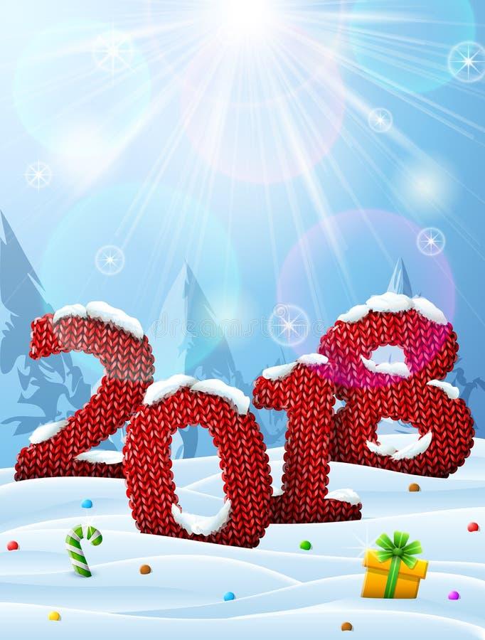 Neues Jahr 2018 in Form der Maschenware im Schnee lizenzfreie stockfotos