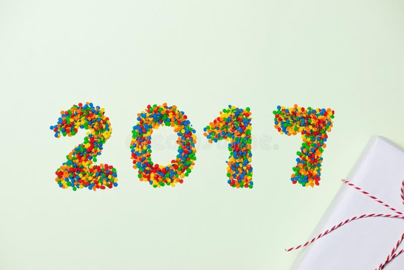 Neues Jahr 2017 in Form der Süßigkeit Jahrzahl mögen Feiertag candie lizenzfreie stockbilder