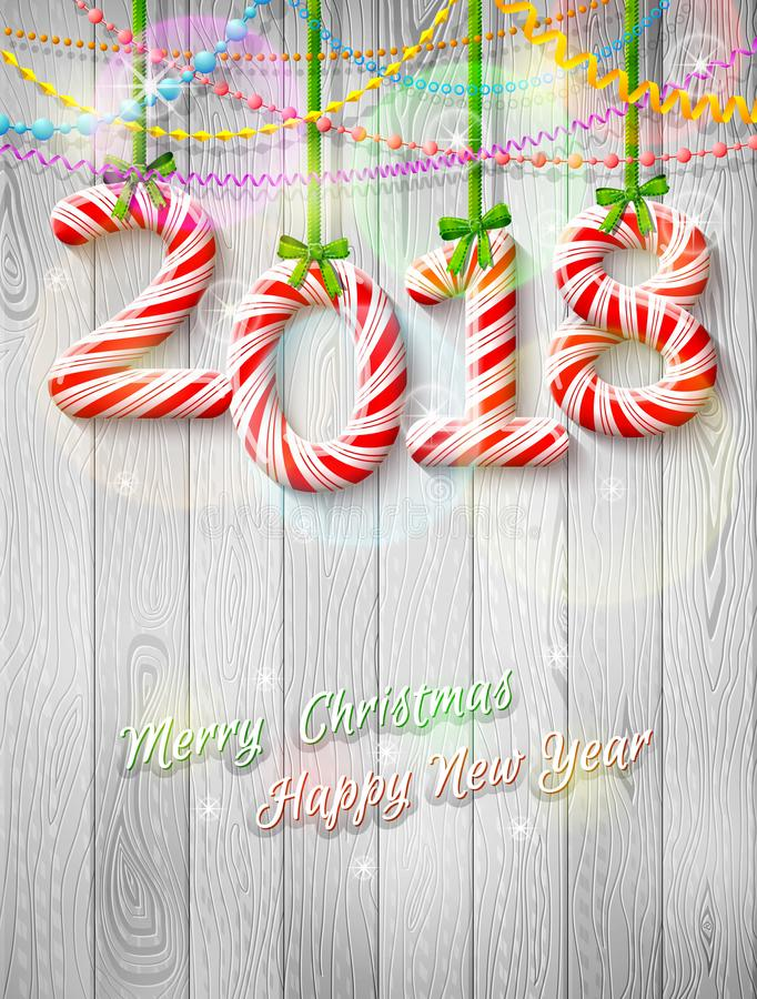 Neues Jahr 2018 in Form des Süßigkeitsstockes als Weihnachtsdekoration lizenzfreie stockfotografie