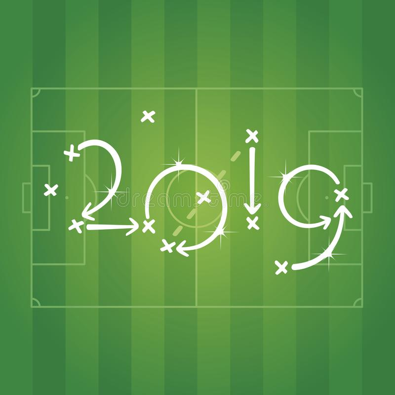 Neues Jahr-Fußballstrategieplangrün-Feldsport-Stadionshintergrundvektor 2019 vektor abbildung
