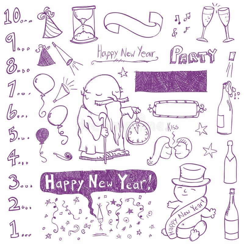 Neues Jahr-Gekritzel lizenzfreie abbildung