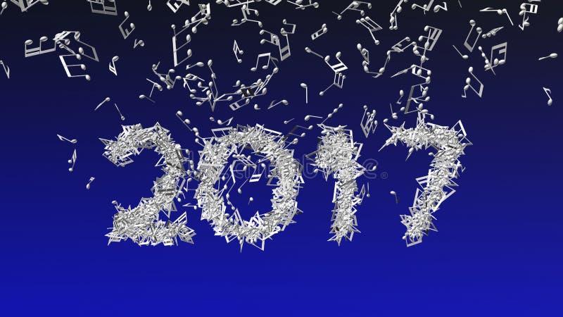 2017 neues Jahr gemacht von den musikalischen Anmerkungen stockbild