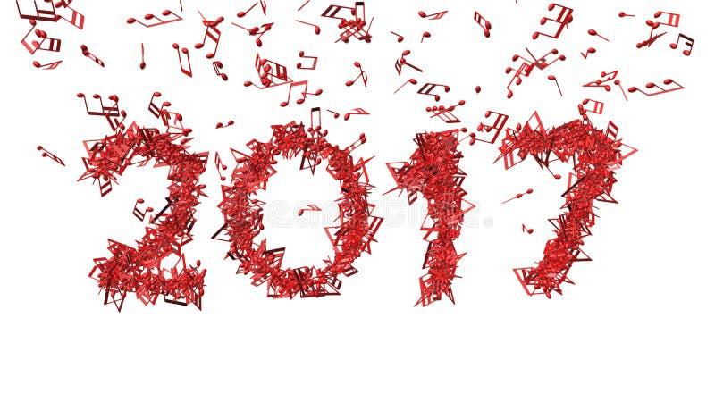 2017 neues Jahr gemacht von den musikalischen Anmerkungen lizenzfreies stockbild