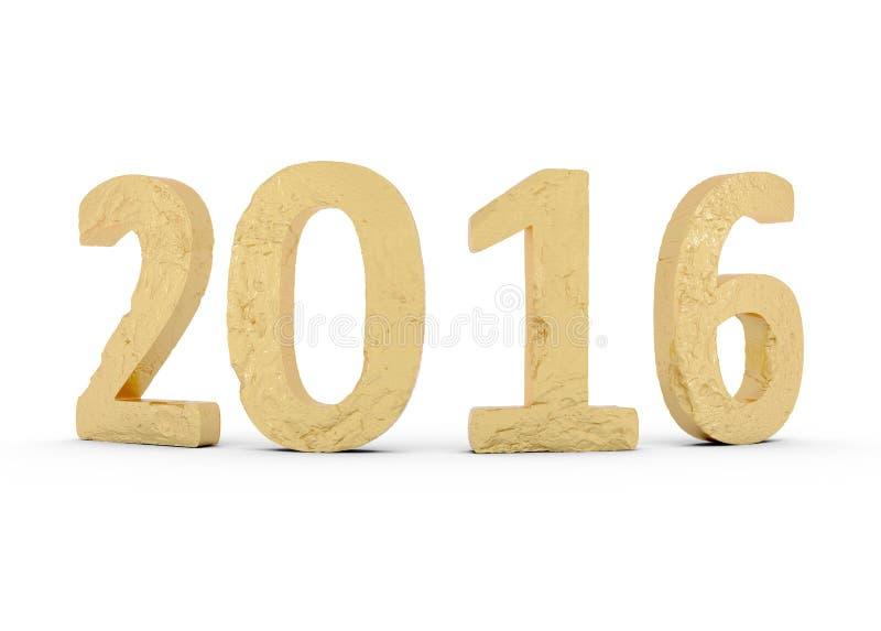 Neues Jahr-Gold 2016 lokalisiert auf Weiß stockbild