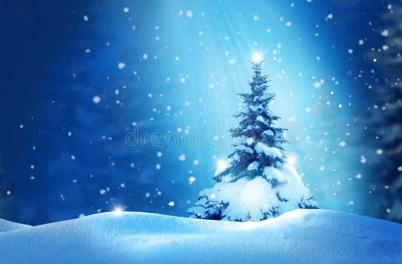 Neues Jahr-Gruß-Karte mit Weihnachtsbaum stockfotos