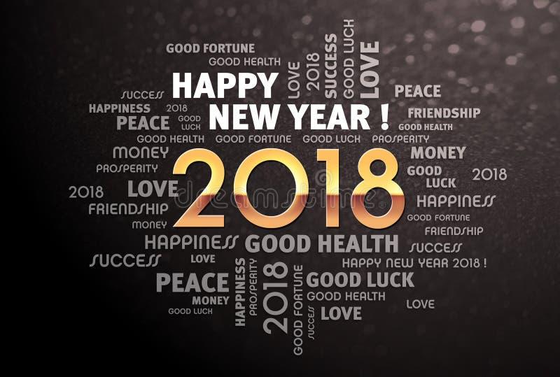 2018 neues Jahr-Grußwörter lizenzfreie abbildung