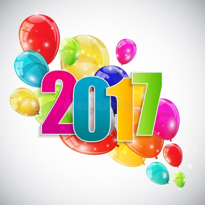 Neues Jahr-Hintergrund-Vektor Illustrat der Farbglatter Ballon-2017 stock abbildung