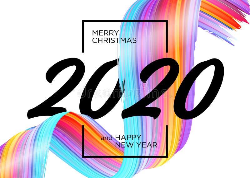 Neues Jahr 2020 - Neues Hintergrunddesign. Vector Grußkarte mit abstraktem Gradient Brushstroke stock abbildung