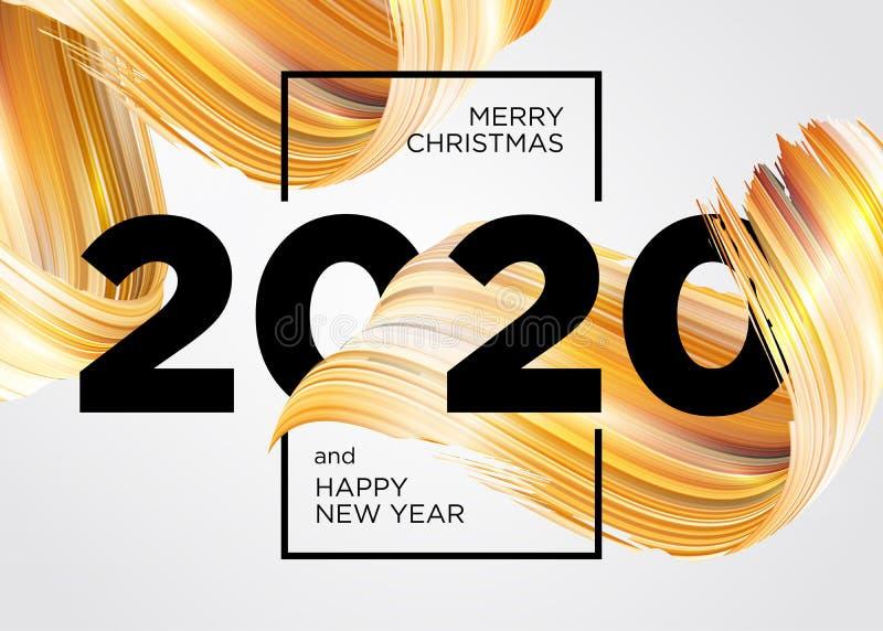Neues Jahr 2020 - Neues Hintergrunddesign Vector Grußkarte mit abstraktem Gradient Brushstroke Farbige Illustration für 2020 vektor abbildung