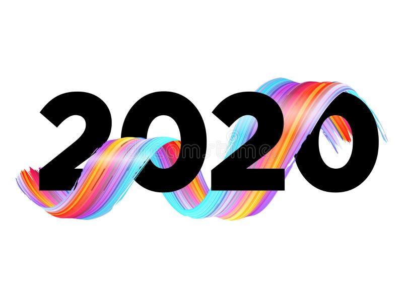 Neues Jahr 2020 - Neues Hintergrunddesign. Vector Lettern mit abstraktem Gradient Brushstroke vektor abbildung