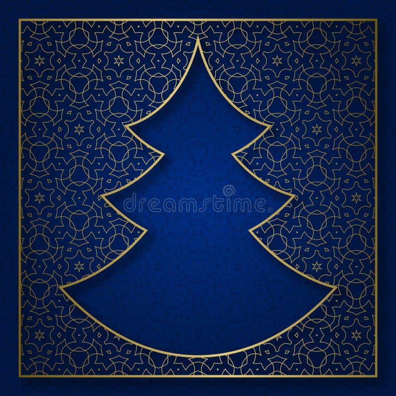 Neues Jahr kopierte Hintergrund mit Rahmen in der Weihnachtsbaumform vektor abbildung