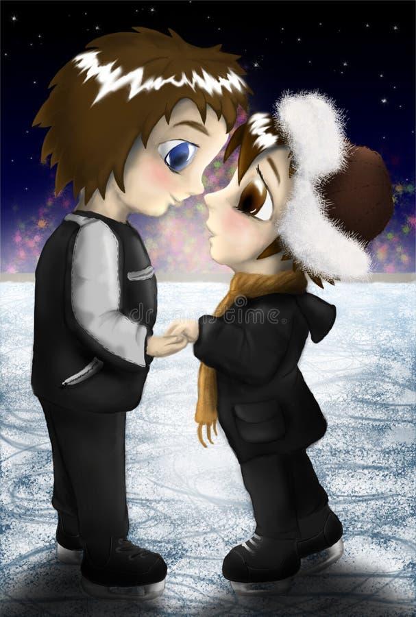 Neues Jahr, Liebe und Eislauf stock abbildung