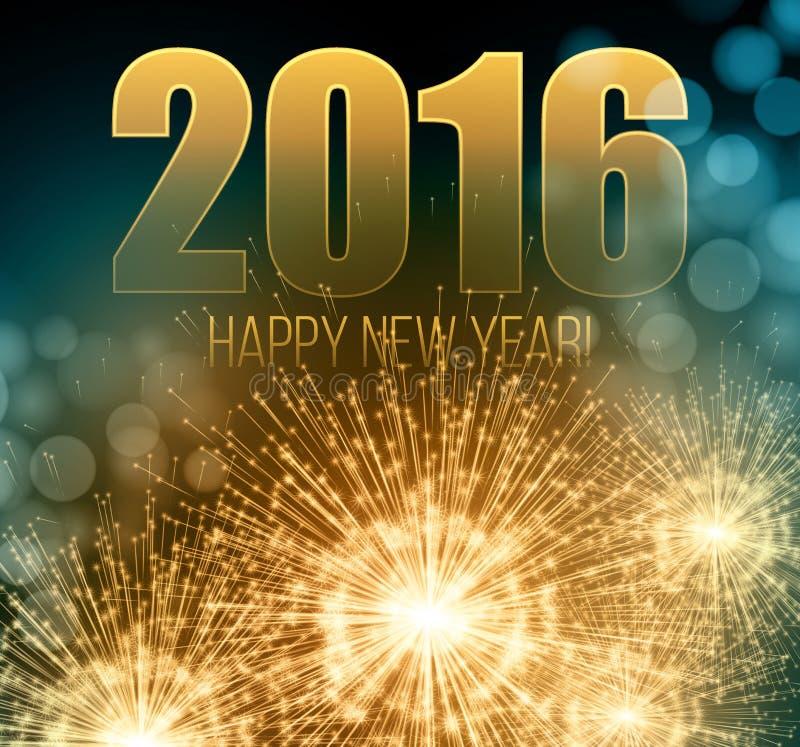 2016 neues Jahr machte eine Wunderkerze Vektor lizenzfreie abbildung