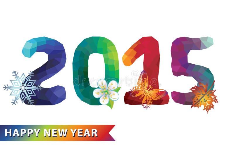 Neues Jahr 2015 Mehrfarbenpolygonzahlen mit Charakterjahreszeit vektor abbildung
