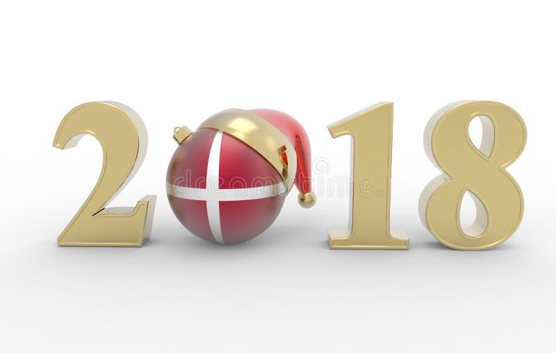 Neues Jahr 2018 mit danemark Flagge 3d lizenzfreie abbildung