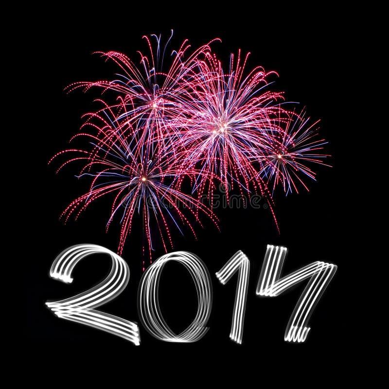 Neues Jahr 2014 mit Feuerwerken lizenzfreies stockbild