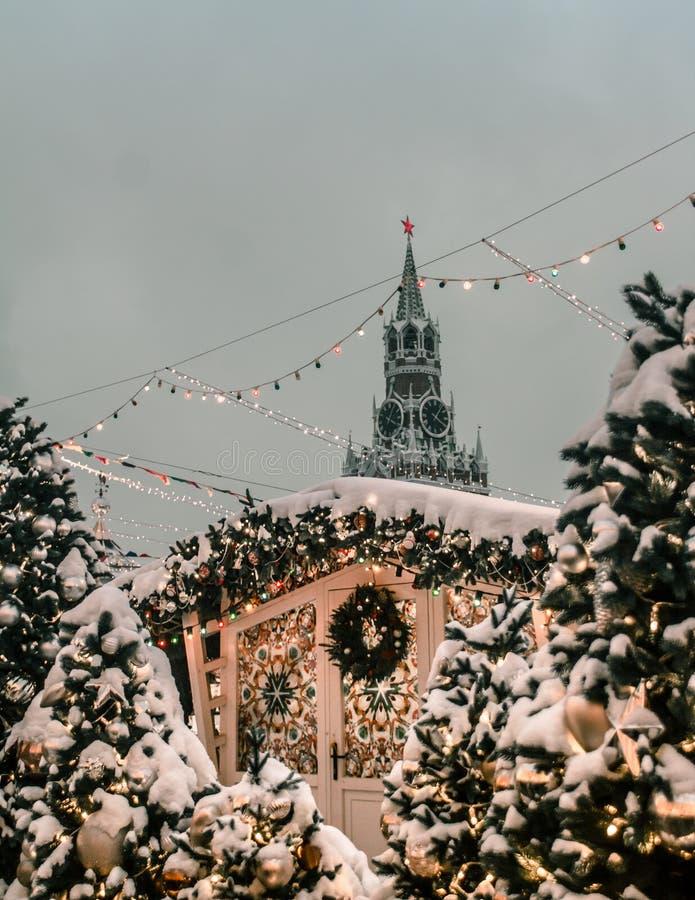 Neues Jahr Moskau-Roten Platzes stockfotografie