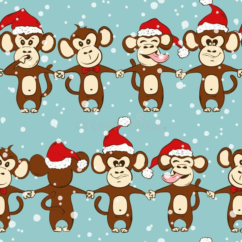 Neues Jahr-nahtloses Muster mit dem Affe-Händchenhalten stock abbildung
