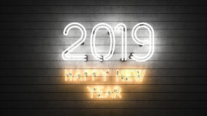 Neues Jahr 2019 Neonformen mit Lichtern stockfotos