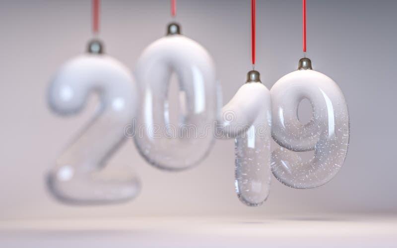 Neues Jahr Nr. 2019 in Form von den Weihnachtsbaumdekorationen gemacht vom Glas Goldfarbe und Schärfentiefe stockbild