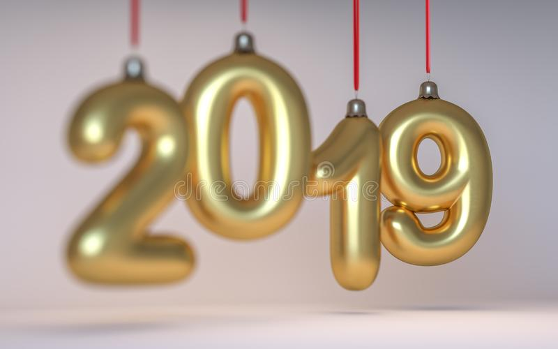 Neues Jahr Nr. 2019 in Form von den Weihnachtsbaumspielwaren hergestellt vom Glas und von der Schärfentiefe 3d übertragen stockfotografie