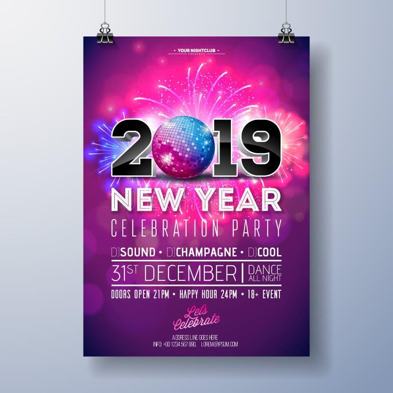 Neues Jahr-Partei-Feier-Plakat-Schablonen-Illustration mit Zahl 3d 2019, Disco-Ball und Feuerwerk auf glänzendem buntem vektor abbildung