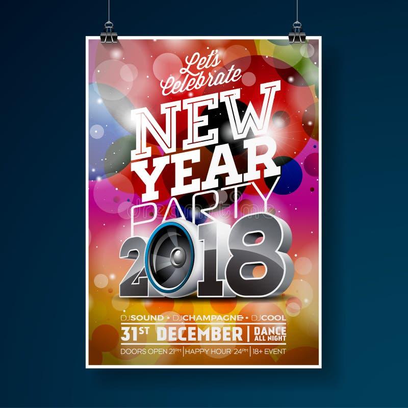Neues Jahr-Partei-Feier-Plakat-Schablonenillustration mit Ball des Text-3d 2018 und der Disco auf glänzendem buntem Hintergrund lizenzfreie abbildung