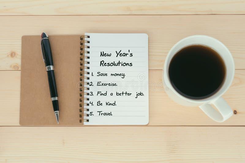 Neues Jahr ` s Beschlüsseliste lizenzfreie stockfotografie