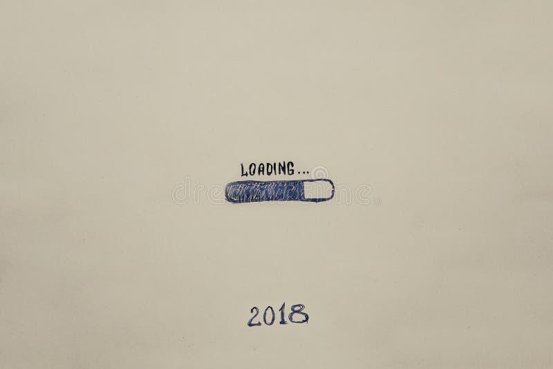 Neues Jahr ` s Eve 2018 wird auf Kraftpapier gemalt fortschritt Abbildung stockfoto