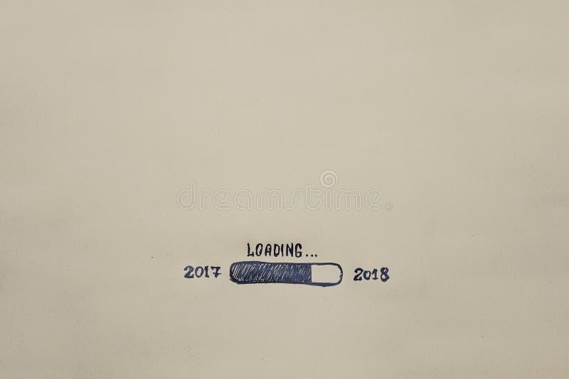Neues Jahr ` s Eve 2018 wird auf Kraftpapier gemalt fortschritt Abbildung lizenzfreies stockfoto