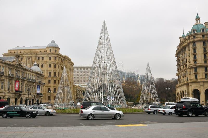 Neues Jahr ` s Feiertag in Baku, Aserbaidschan lizenzfreie stockfotografie