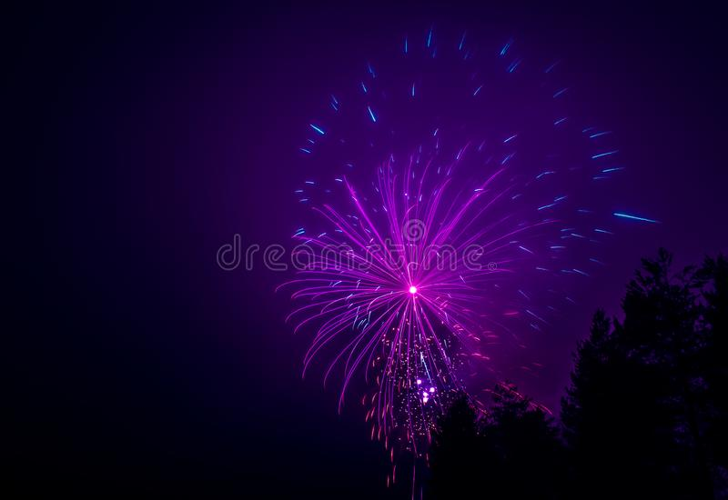 Neues Jahr ` s Feuerwerke Foto von Finnland stockbild