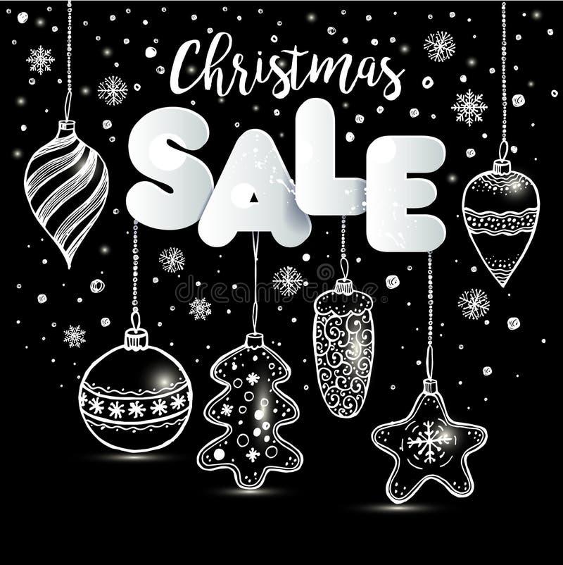 Neues Jahr s spielt Hand gezeichnete Art auf Schwarzem mit und Schnee Vektorgrußkarte für Weihnachtsverkauf vektor abbildung