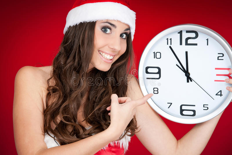 Neues Jahr, Sankt-Mädchen, Borduhr, Zeit stockbilder
