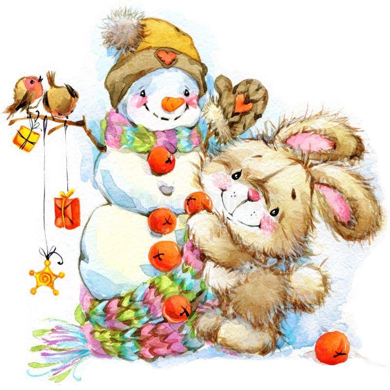 Neues Jahr Santa Bunny Hintergrundglückwünsche lizenzfreie abbildung