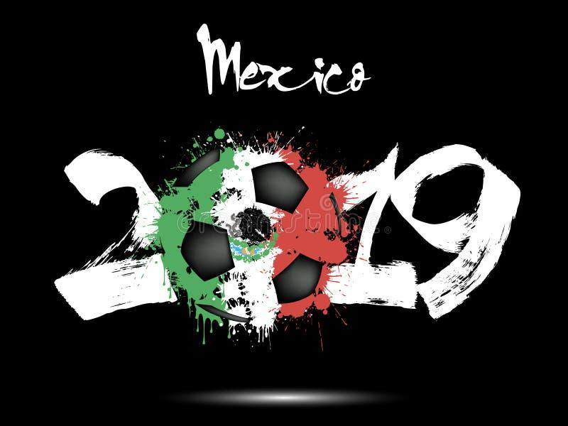 2019 neues Jahr und ein Fußball als Flagge Mexiko stock abbildung