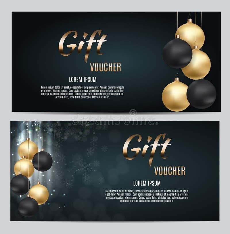 Neues Jahr-und Weihnachtsgeschenkgutschein-Schablonen-Vektor-Illustration für Ihr Geschäft lizenzfreie abbildung