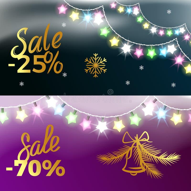neues Jahr-Vektor-Illustration des Verkaufs--25 und -70 lizenzfreie abbildung