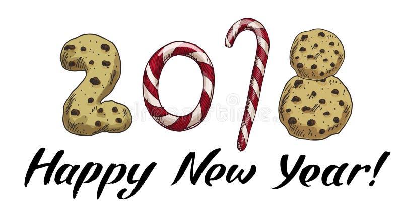 Neues Jahr 2018 Winterkarte mit Süßigkeiten und Keksen Vector Bild für Tag der neuen Jahre, Weihnachten, Süßmaterial, der Winteru lizenzfreie abbildung