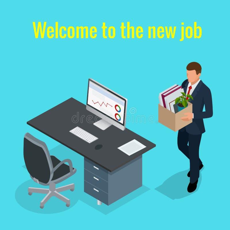 Neues Jobkonzept Isometrische Büroangestellte und Untergebene des Vektors 3D der Leute Bemannen Sie das Gehen zum neuen Job mit K lizenzfreie abbildung