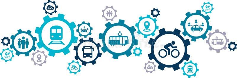Neues Mobilitätsikonenkonzept – ökologische Alternativen der öffentlichen Transportmittel: Bus, Fahrrad, Carsharing, Zug - Vektor lizenzfreie abbildung