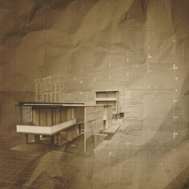 Neues modernes Architektur-3d auf zerknittertem Papier lizenzfreie abbildung