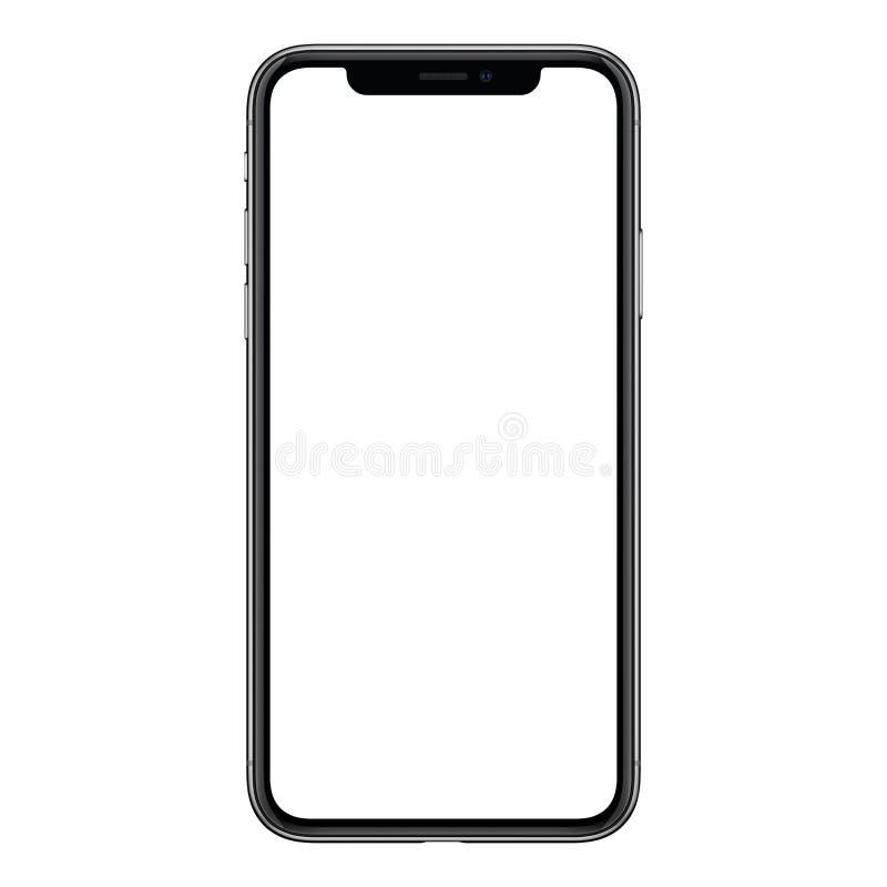 Neues modernes frameless Smartphonemodell mit dem weißen Schirm lokalisiert auf weißem Hintergrund