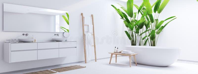 Neues modernes Zenbadezimmer mit tropischen Anlagen Wiedergabe 3d stockbilder