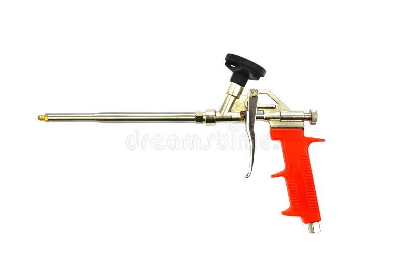 Neues Montageschaumsprühergewehr-Pistolenwerkzeug lokalisiert auf Weiß lizenzfreies stockfoto