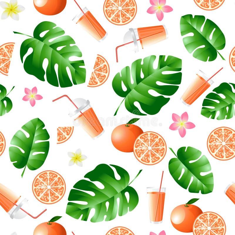 Neues Orangensaft- und Palmblattmuster vektor abbildung