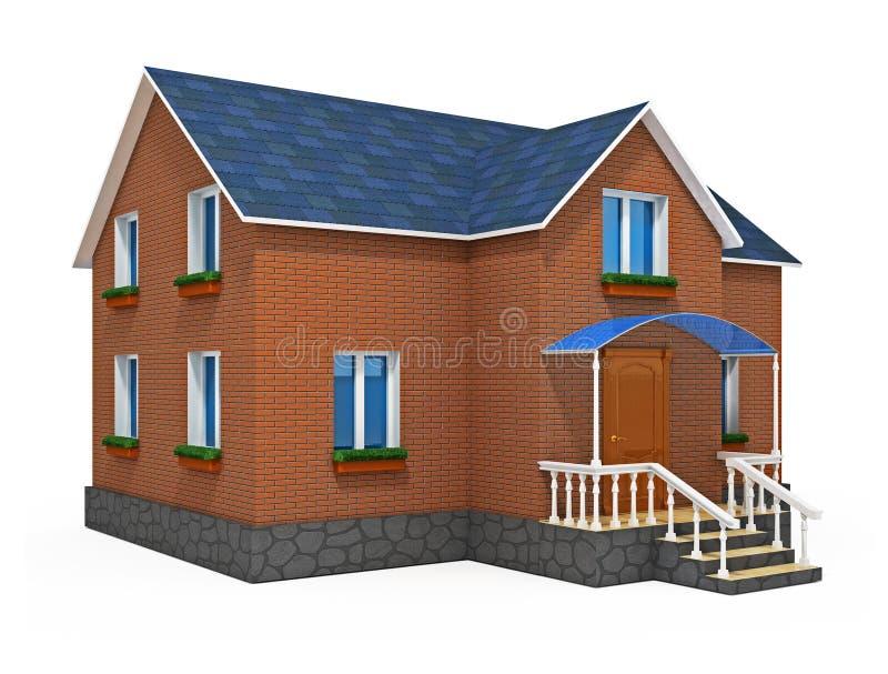 Neues privates Haus getrennt auf weißem Hintergrund stock abbildung