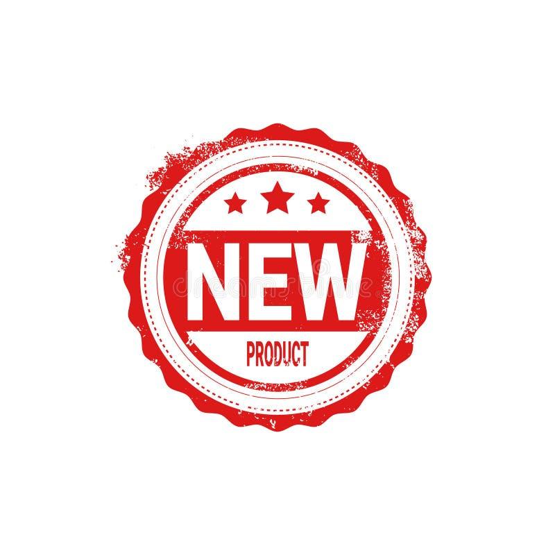 Neues Produkt-Stempel-roter Tinten-Ausweis lokalisierte Aufkleber-Ikone vektor abbildung